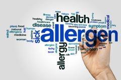 Concetto della nuvola di parola dell'allergene su fondo grigio Fotografie Stock Libere da Diritti