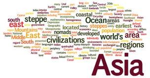 Concetto della nuvola di parola dell'Asia Immagine Stock