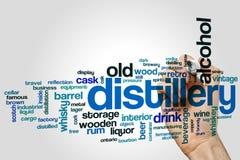 Concetto della nuvola di parola della distilleria su fondo grigio immagine stock