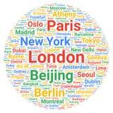 Concetto della nuvola di parola delle destinazioni delle città di viaggio royalty illustrazione gratis