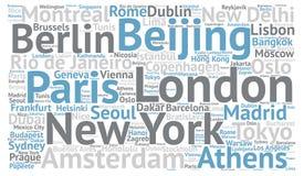 Concetto della nuvola di parola delle destinazioni delle città di viaggio illustrazione di stock