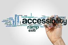 Concetto della nuvola di parola di accessibilità su fondo grigio fotografia stock libera da diritti