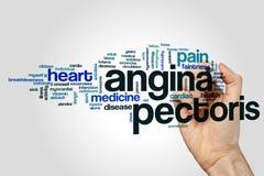 Concetto della nuvola di parola di angina pectoris su fondo grigio Immagini Stock Libere da Diritti