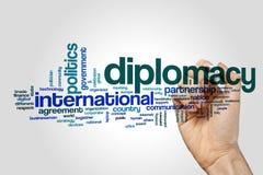 Concetto della nuvola di parola di diplomazia su fondo grigio immagine stock libera da diritti