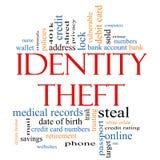 Concetto della nuvola di parola di furto di identità Immagini Stock