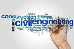 Concetto della nuvola di parola di ingegneria civile su fondo grigio immagini stock