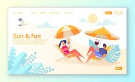 Concetto della pagina d'atterraggio sul tema di vacanze estive Attivit? all'aperto e resto sulla spiaggia royalty illustrazione gratis