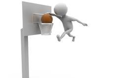concetto della palla del canestro dell'uomo 3d Fotografia Stock Libera da Diritti