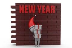 concetto della parete del nuovo anno dell'uomo 3d Fotografie Stock Libere da Diritti