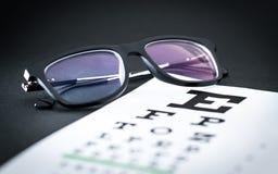 Concetto della prova dell'occhio e dell'esame di vista Vetri sul grafico della lettera fotografia stock