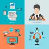 Concetto della radio della televisione di giornalismo della colata di notizie Royalty Illustrazione gratis