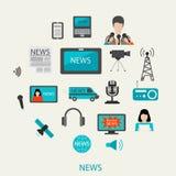 Concetto della radio della televisione di giornalismo della colata di notizie Fotografie Stock