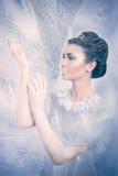 Concetto della regina della neve con le mani bianche congelate Fotografia Stock
