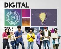 Concetto della rete del Cyberspace di tecnologia di mezzi d'informazione di Digital Immagine Stock Libera da Diritti