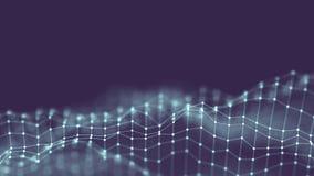 concetto della rete del fondo dell'estratto 3d Illustrazione futura di tecnologia del fondo paesaggio 3d Grandi dati Wireframe Immagine Stock