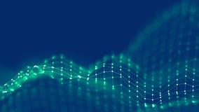 concetto della rete del fondo dell'estratto 3d Illustrazione futura di tecnologia del fondo paesaggio 3d Grandi dati Wireframe Immagini Stock