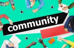 Concetto della rete del gruppo del collegamento del cittadino della Comunità immagini stock libere da diritti