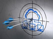 Concetto della rete della nuvola: frecce nella rete della nuvola Fotografia Stock Libera da Diritti