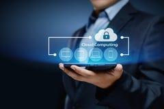 Concetto della rete di stoccaggio di Internet di tecnologia di computazione della nuvola Immagini Stock Libere da Diritti