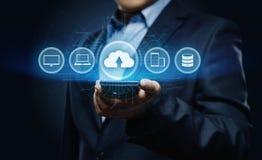 Concetto della rete di stoccaggio di Internet di tecnologia di computazione della nuvola Fotografia Stock