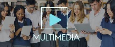 Concetto della rete di tecnologia della comunicazione di multimedia Fotografie Stock