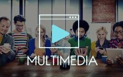 Concetto della rete di tecnologia della comunicazione di multimedia Immagini Stock Libere da Diritti