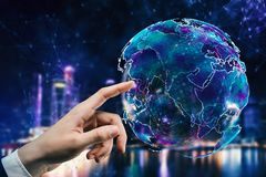 Concetto della rete e di affari globali Fotografia Stock