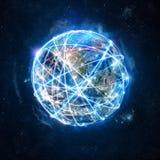 Concetto della rete globale del collegamento a Internet mondo fornito dalla NASA fotografia stock libera da diritti