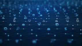 Concetto della rete globale IoTInternet delle cose Rete di comunicazione di ICTInformation Rete dei dispositivi fisici illustrazione vettoriale