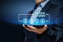 Concetto della rete internet di affari della catena di blocco Tecnologia del registro immagine stock