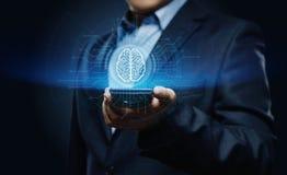 Concetto della rete internet di tecnologia di affari di apprendimento automatico di AI di intelligenza di Digital Brain Artificia Fotografia Stock