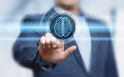 Concetto della rete internet di tecnologia di affari di apprendimento automatico di AI di intelligenza di Digital Brain Artificia Fotografia Stock Libera da Diritti