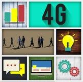 concetto della rete internet di tecnologia del collegamento 4G Fotografia Stock Libera da Diritti