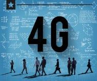 concetto della rete internet di tecnologia del collegamento 4G Fotografie Stock