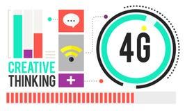 concetto della rete internet di tecnologia del collegamento 4G Fotografia Stock
