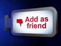 Concetto della rete sociale: Aggiunga come l'amico e pollice Fotografia Stock Libera da Diritti