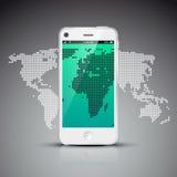 Concetto della rete sociale con la mappa di mondo Fotografie Stock Libere da Diritti