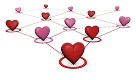 Concetto della rete sociale e di amore Fotografia Stock