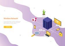 Concetto della rete wireless con varia tecnologia del dispositivo per progettazione del modello del sito Web o il homepage d'atte royalty illustrazione gratis