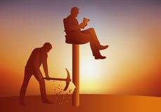 Concetto della ribellione, con un uomo che prova a fare la sua caduta capa dal suo piedistallo con un piccone illustrazione vettoriale