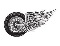 Concetto della ruota del motociclo alato annata royalty illustrazione gratis