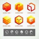 Concetto della SCATOLA di progettazione di simbolo e di logo Fotografia Stock