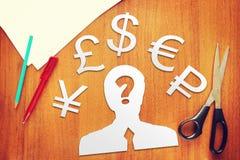 Concetto della scelta di valuta monetaria Fotografie Stock Libere da Diritti