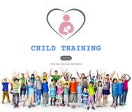 Concetto della scuola materna di affetto di comodità di addestramento del bambino fotografia stock
