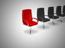 Concetto della sedia dell'ufficio isolato su fondo bianco Immagini Stock