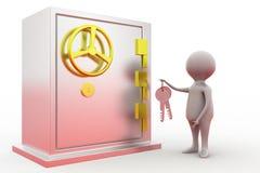 concetto della serratura dell'uomo 3d Fotografia Stock