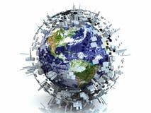 concetto della sfera del metallo di terra delle città 3D illustrazione vettoriale