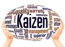 Concetto della sfera della mano della nuvola di parola di Kaizen immagini stock