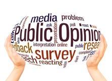 Concetto della sfera della mano della nuvola di parola di opinione pubblica immagini stock