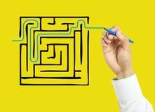 Concetto della soluzione del disegno della mano dell'uomo d'affari Immagine Stock Libera da Diritti